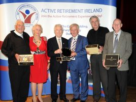 Ned Reck (3rd from Left) and his Midleton team of JJ Lynch, Malcolm Taylor and Pat McEntee accept the Active Retirement Plate from Killarney Mayor Sean O'Grady and ARI President Mai Quaid.jpg